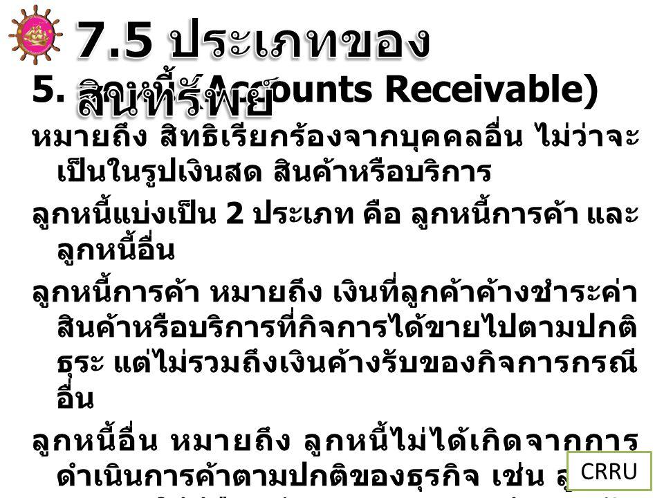 7.5 ประเภทของสินทรัพย์ 5. ลูกหนี้ (Accounts Receivable)