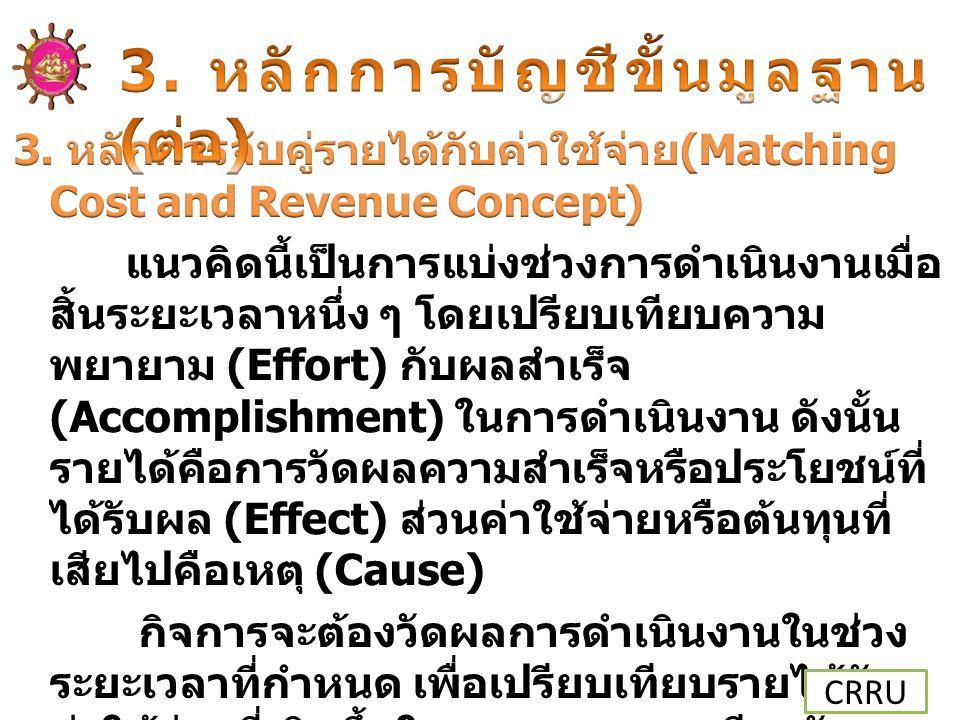 3. หลักการบัญชีขั้นมูลฐาน (ต่อ)
