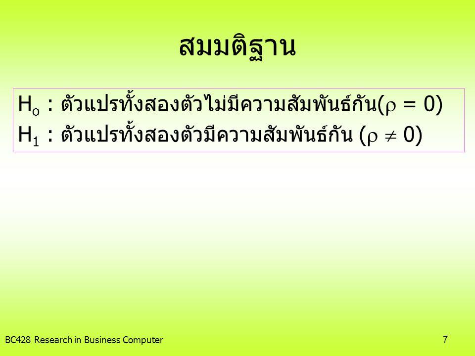 สมมติฐาน Ho : ตัวแปรทั้งสองตัวไม่มีความสัมพันธ์กัน( = 0)