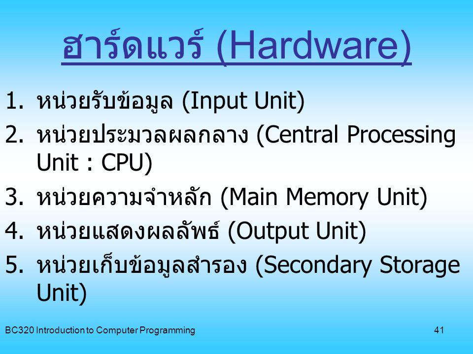 ฮาร์ดแวร์ (Hardware) หน่วยรับข้อมูล (Input Unit)