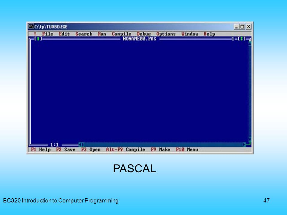 PASCAL BC320 Introduction to Computer Programming