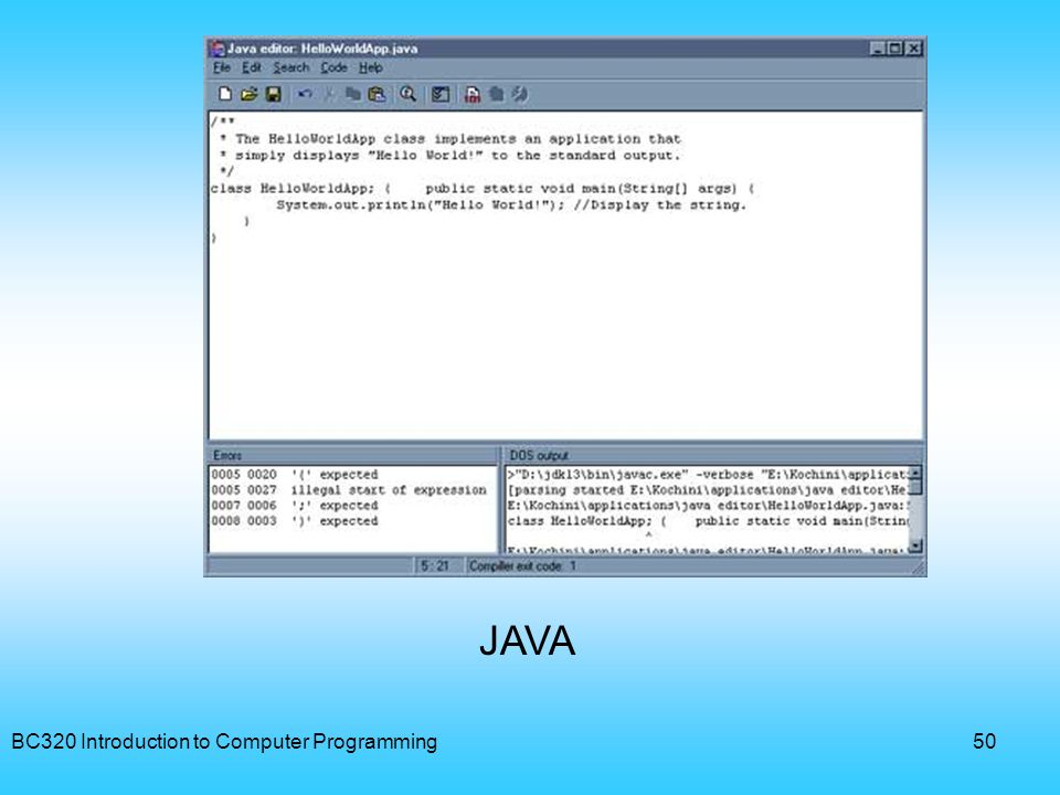 JAVA BC320 Introduction to Computer Programming