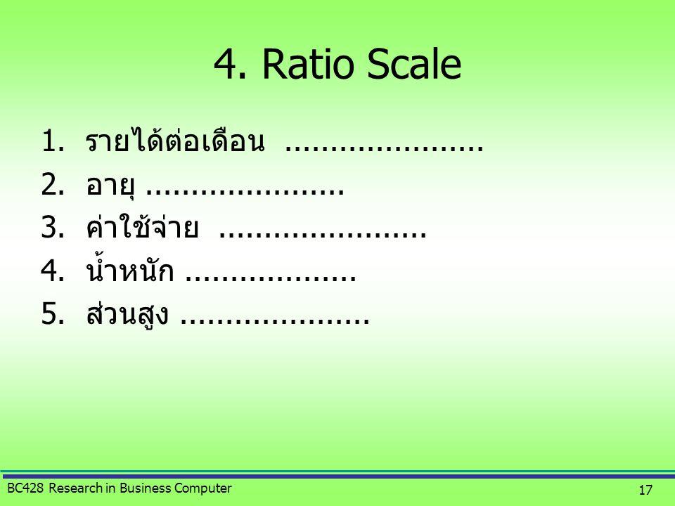 4. Ratio Scale รายได้ต่อเดือน ......................