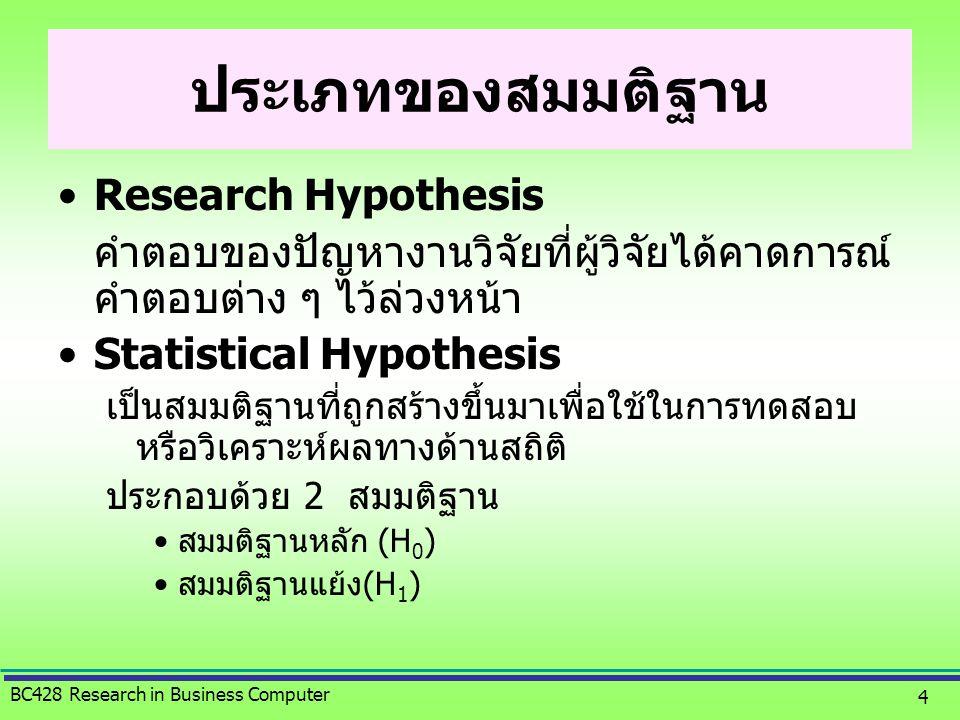 ประเภทของสมมติฐาน Research Hypothesis