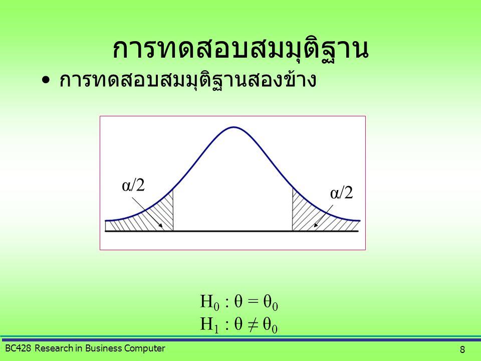 การทดสอบสมมุติฐาน การทดสอบสมมุติฐานสองข้าง α/2 H0 : θ = θ0 H1 : θ ≠ θ0