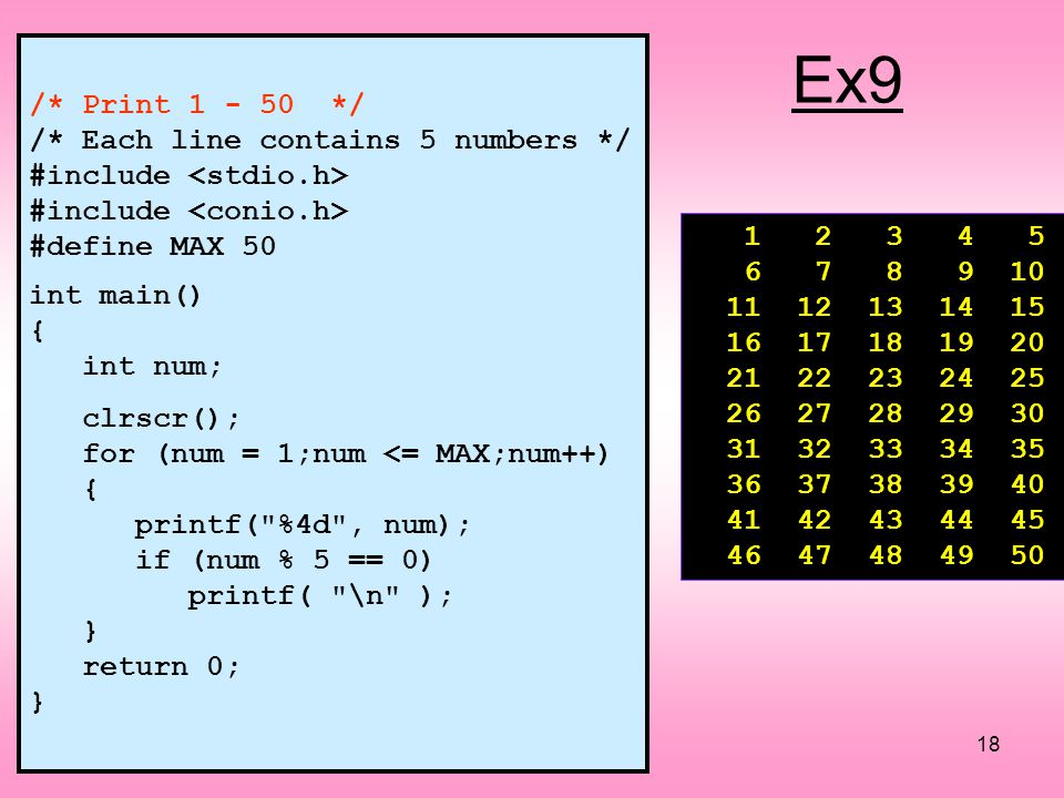 Ex9 /* Print */ /* Each line contains 5 numbers */