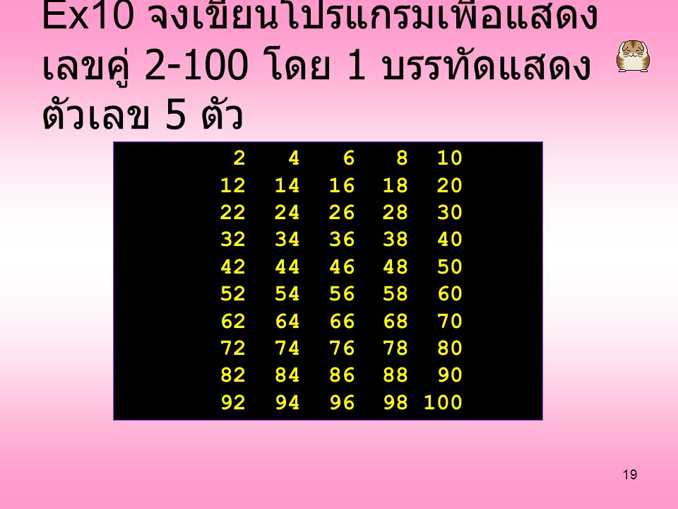 Ex10 จงเขียนโปรแกรมเพื่อแสดงเลขคู่ 2-100 โดย 1 บรรทัดแสดงตัวเลข 5 ตัว