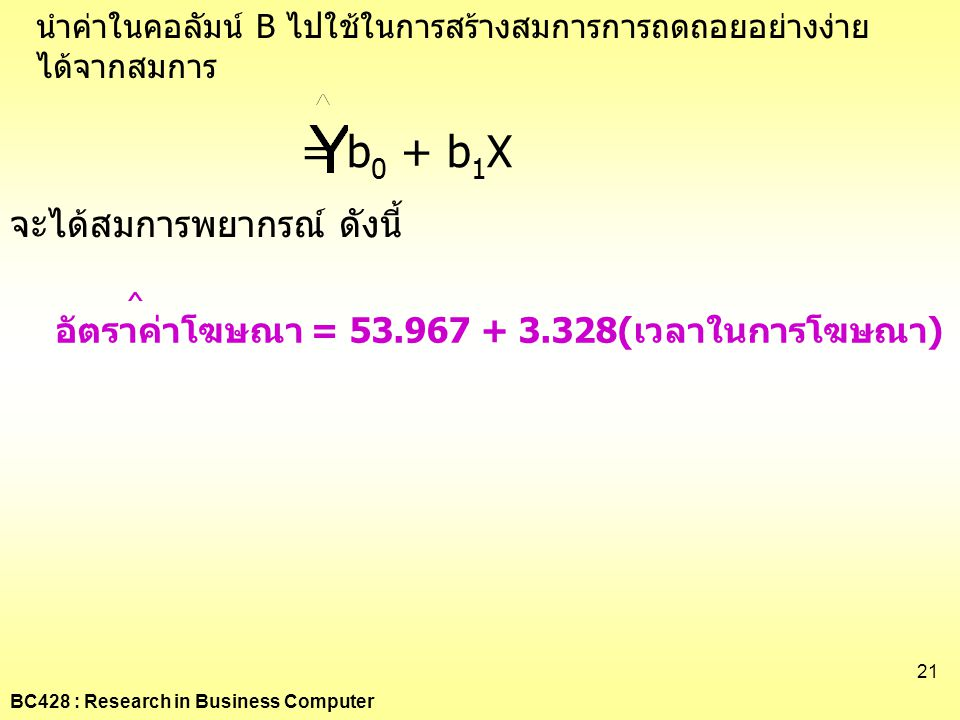 = b0 + b1X จะได้สมการพยากรณ์ ดังนี้ ^