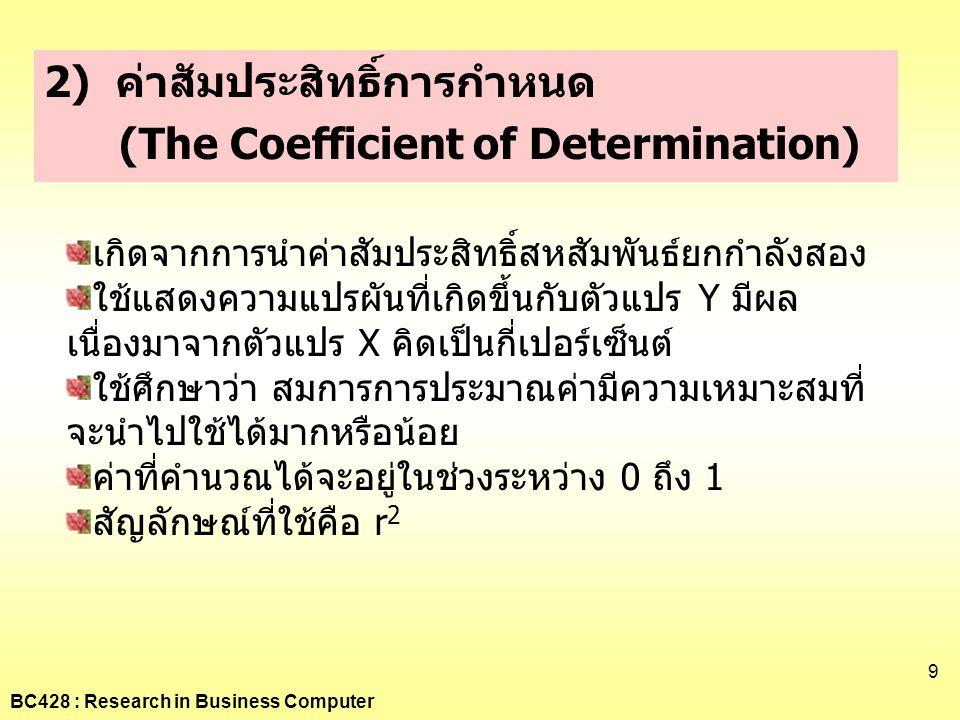 2) ค่าสัมประสิทธิ์การกำหนด (The Coefficient of Determination)
