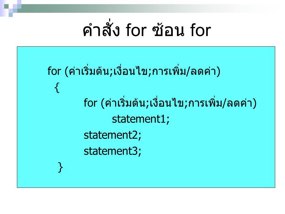 คำสั่ง for ซ้อน for for (ค่าเริ่มต้น;เงื่อนไข;การเพิ่ม/ลดค่า) {