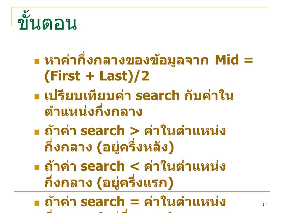 ขั้นตอน หาค่ากึ่งกลางของข้อมูลจาก Mid = (First + Last)/2