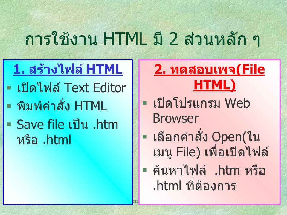 การใช้งาน HTML มี 2 ส่วนหลัก ๆ