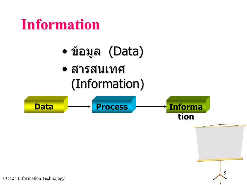 Information ข้อมูล (Data) สารสนเทศ (Information) Data Process