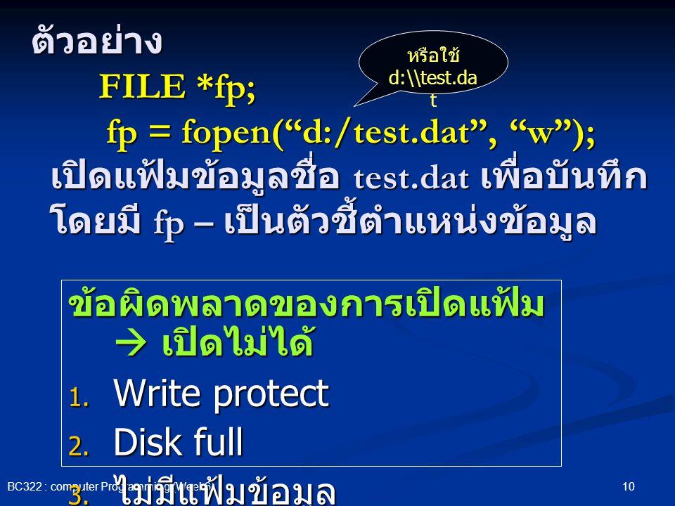 ข้อผิดพลาดของการเปิดแฟ้ม  เปิดไม่ได้ Write protect Disk full
