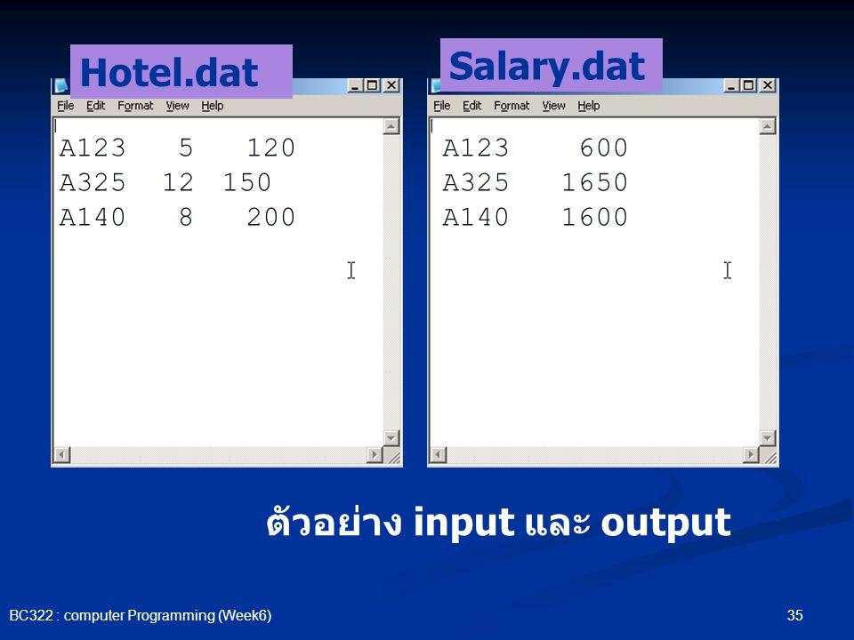 ตัวอย่าง input และ output