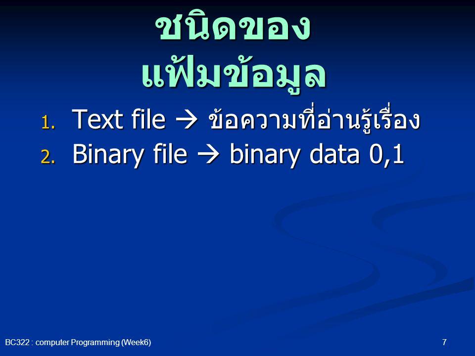 ชนิดของแฟ้มข้อมูล Text file  ข้อความที่อ่านรู้เรื่อง