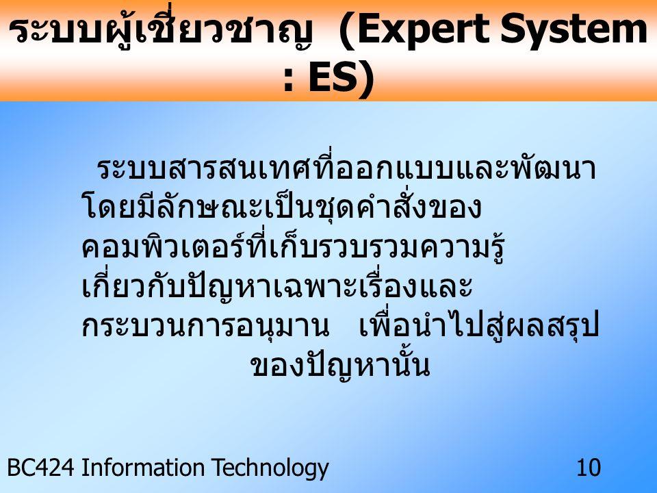 ระบบผู้เชี่ยวชาญ (Expert System : ES)