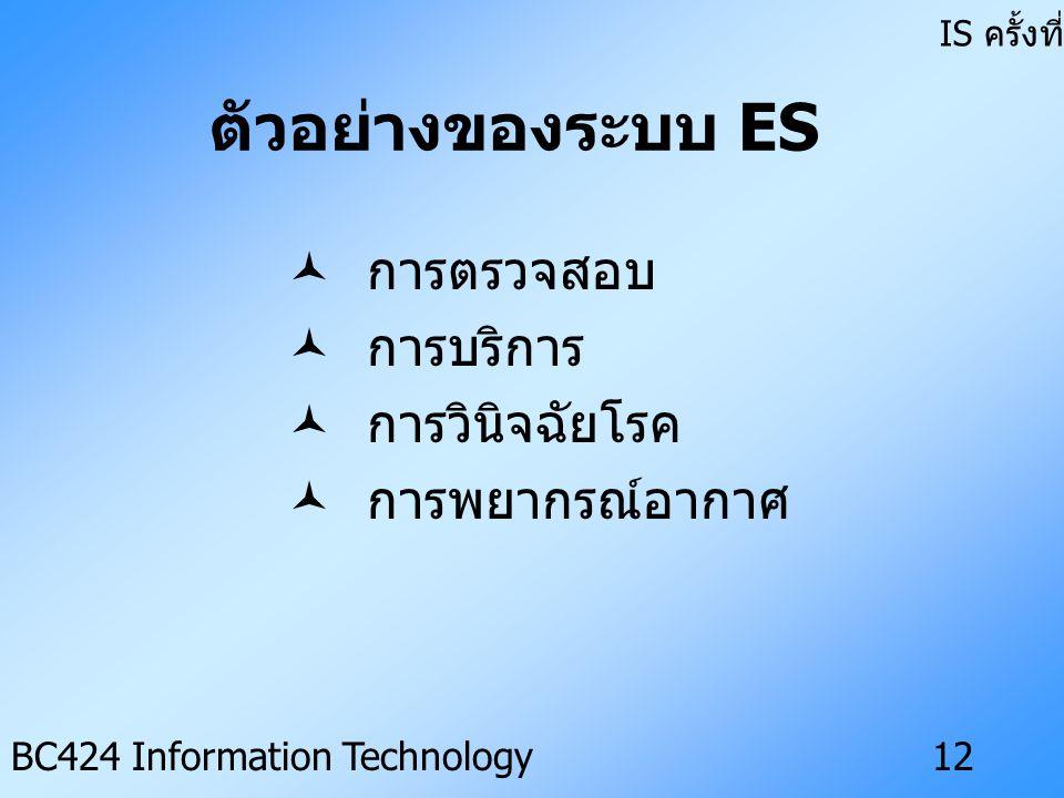ตัวอย่างของระบบ ES การตรวจสอบ การบริการ การวินิจฉัยโรค การพยากรณ์อากาศ