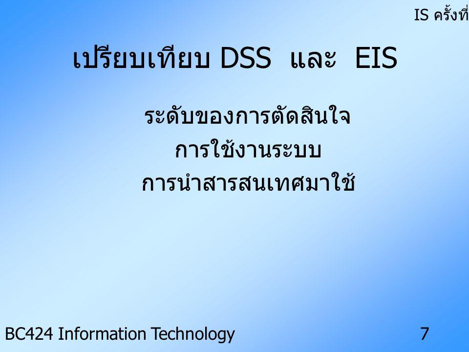 เปรียบเทียบ DSS และ EIS