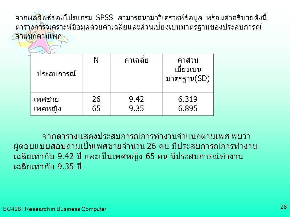 ค่าส่วนเบี่ยงเบนมาตรฐาน(SD)