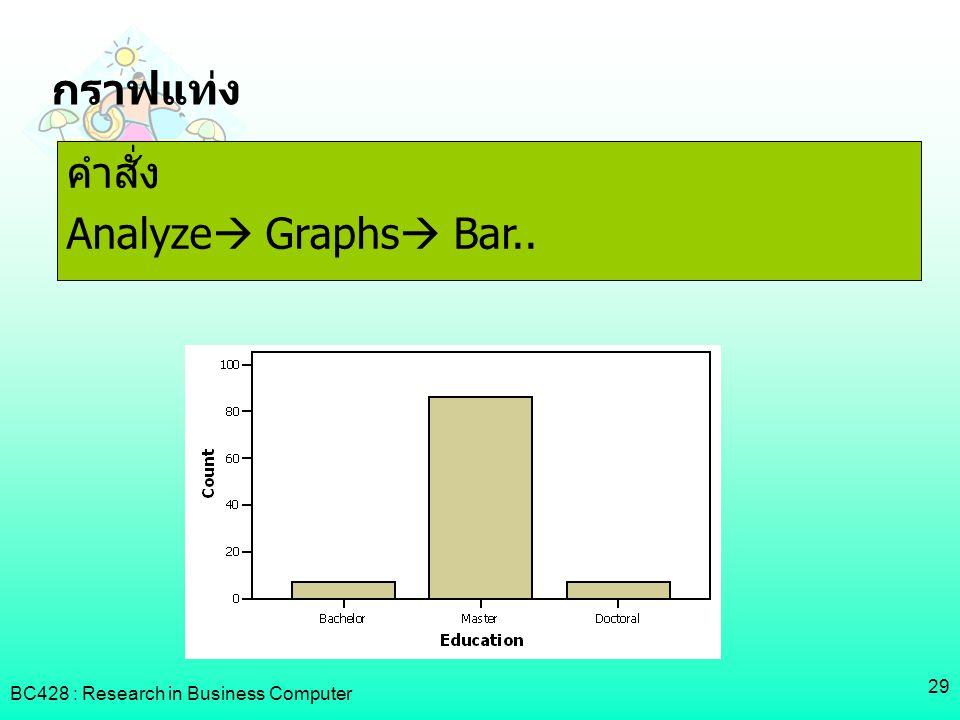 กราฟแท่ง คำสั่ง Analyze Graphs Bar..