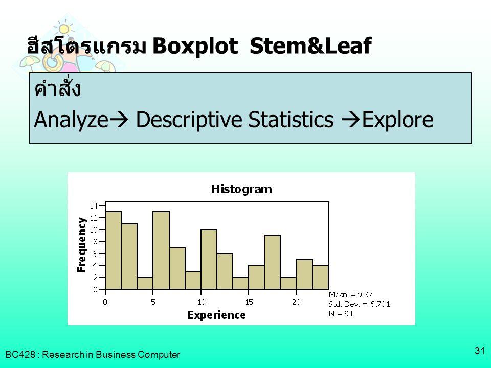 ฮีสโตรแกรม Boxplot Stem&Leaf