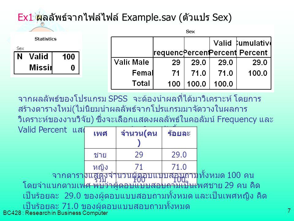 Ex1 ผลลัพธ์จากไฟล์ไฟล์ Example.sav (ตัวแปร Sex)