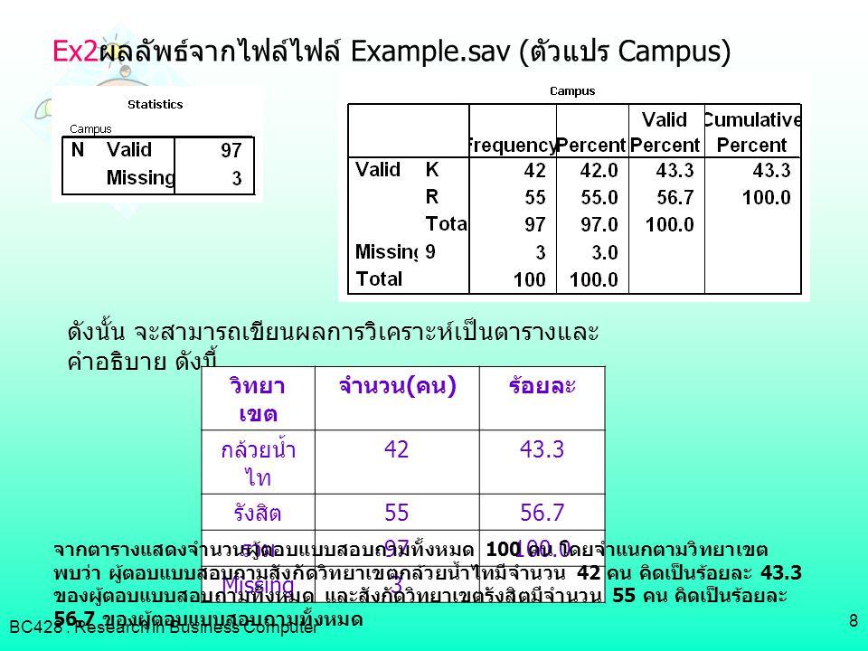 Ex2ผลลัพธ์จากไฟล์ไฟล์ Example.sav (ตัวแปร Campus)