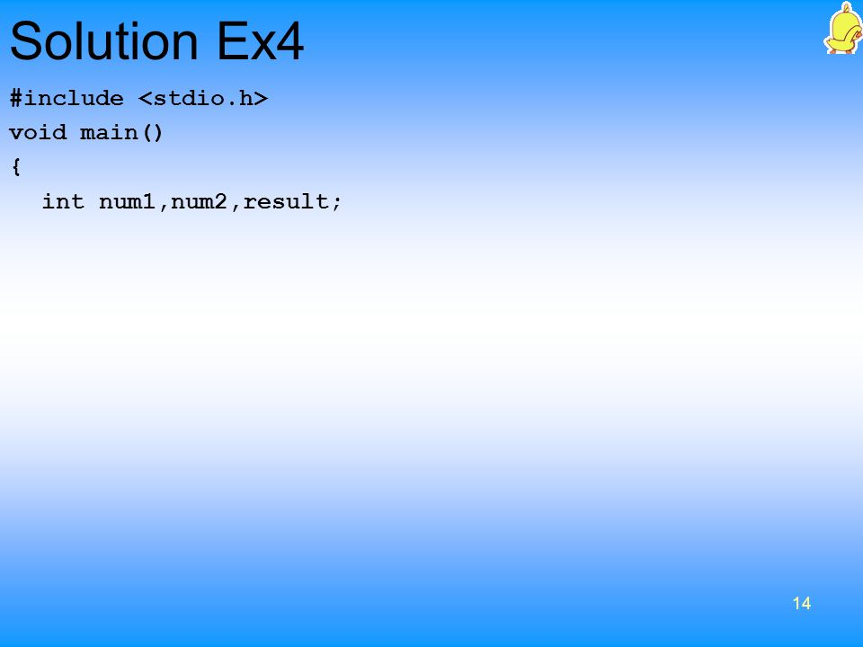 Solution Ex4 #include <stdio.h> void main() {