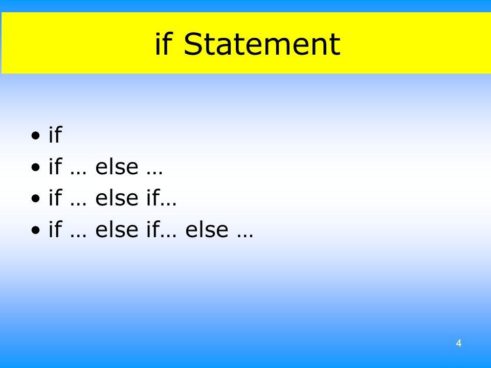 if Statement if if … else … if … else if… if … else if… else …