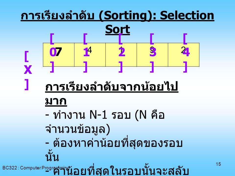 การเรียงลำดับ (Sorting): Selection Sort