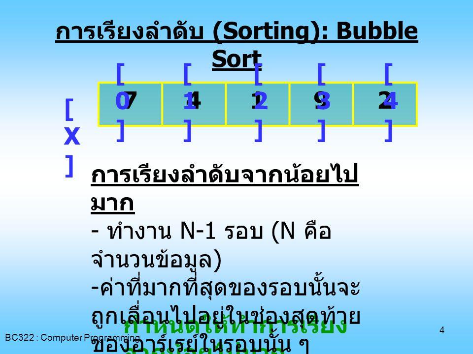 การเรียงลำดับ (Sorting): Bubble Sort