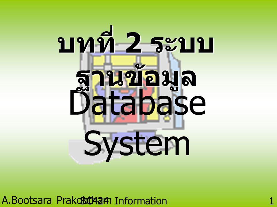 บทที่ 2 ระบบฐานข้อมูล Database System BC424 Information Technology
