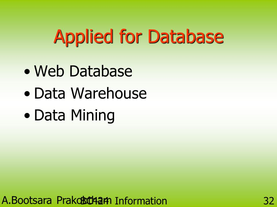 Applied for Database Web Database Data Warehouse Data Mining