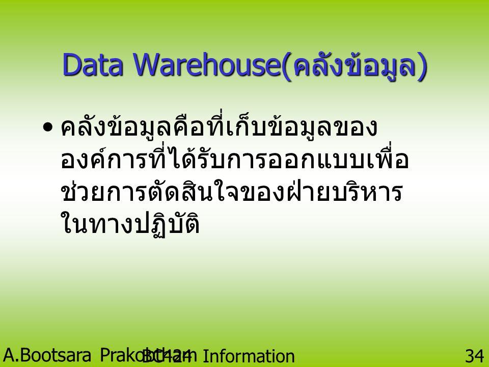Data Warehouse(คลังข้อมูล)
