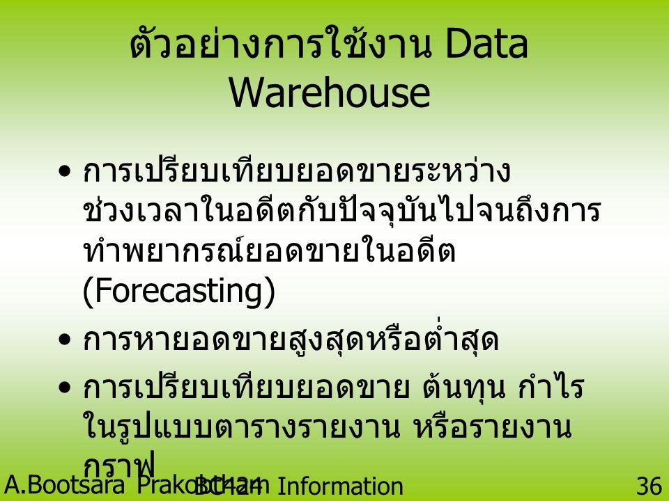 ตัวอย่างการใช้งาน Data Warehouse