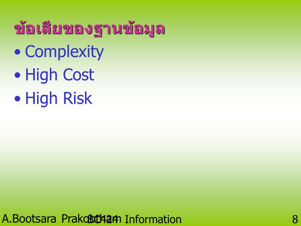 ข้อเสียของฐานข้อมูล Complexity High Cost High Risk