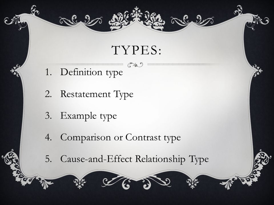 Types: Definition type Restatement Type Example type