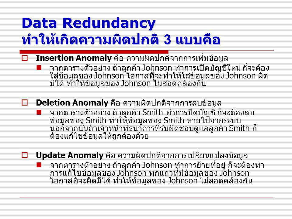 Data Redundancy ทำให้เกิดความผิดปกติ 3 แบบคือ