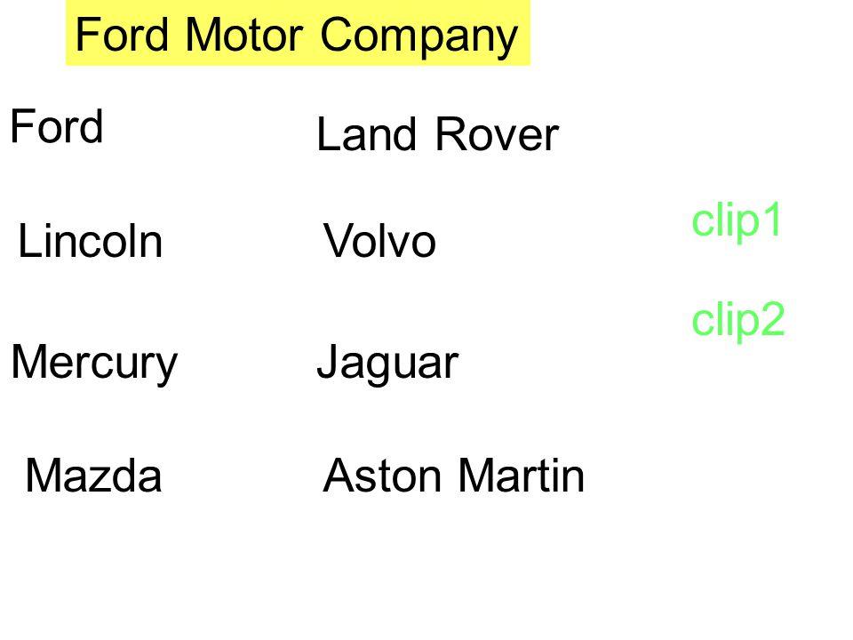 Ford Motor Company Ford Land Rover clip1 Lincoln Volvo clip2 Mercury Jaguar Mazda Aston Martin