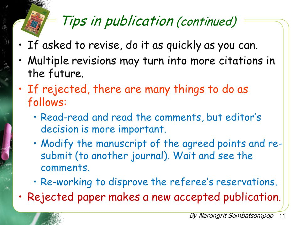 Tips in publication (continued)