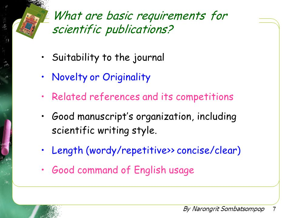 What are basic requirements for scientific publications