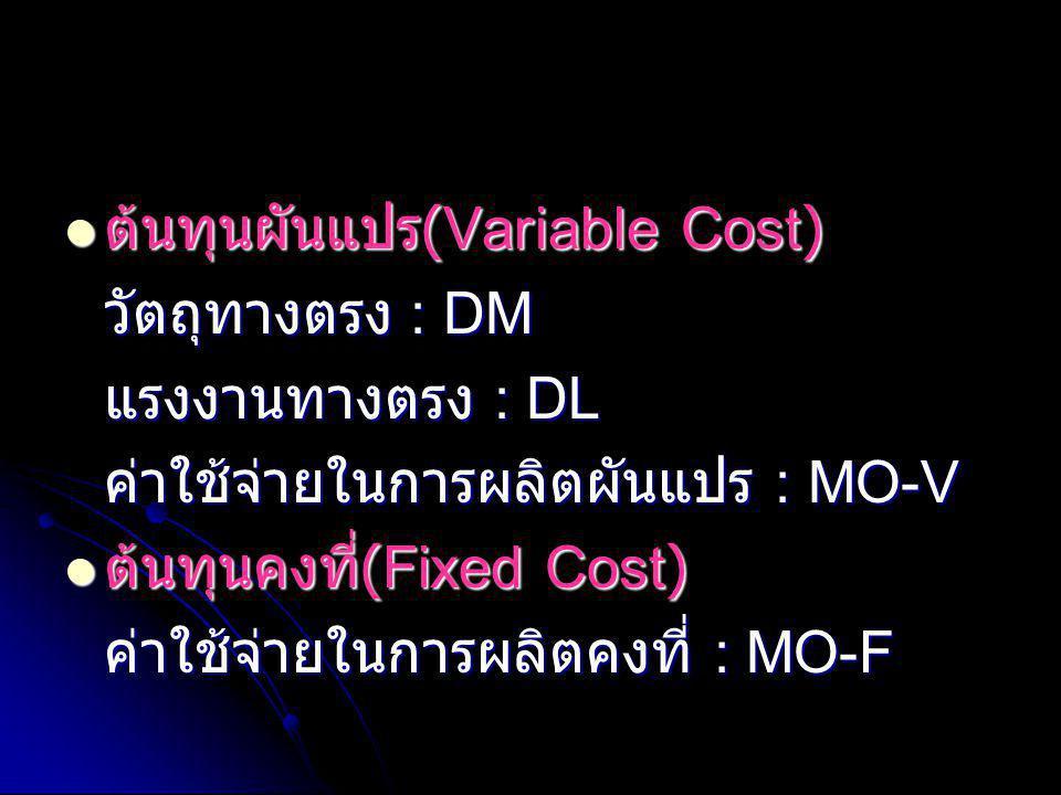 ต้นทุนผันแปร(Variable Cost)