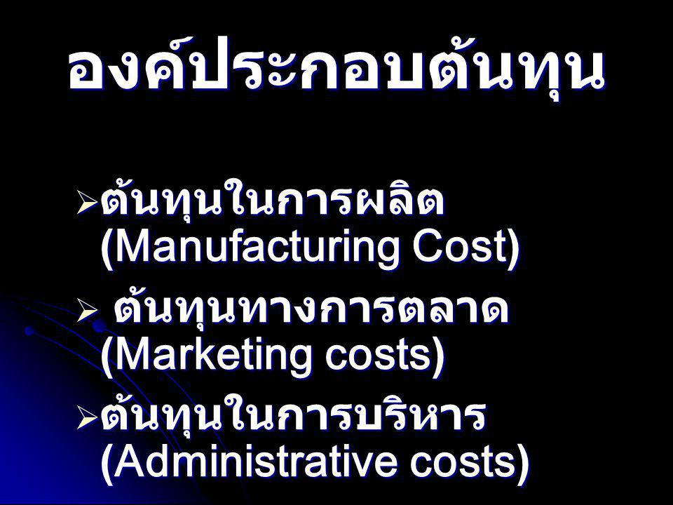 องค์ประกอบต้นทุน ต้นทุนในการผลิต(Manufacturing Cost)