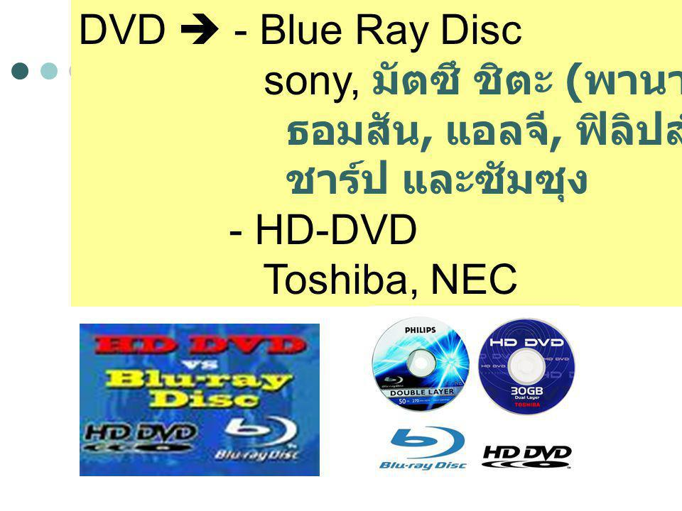 DVD  - Blue Ray Disc sony, มัตซึ ชิตะ (พานาโซนิค), ธอมสัน, แอลจี, ฟิลิปส์, ไพโอเนียร์, ชาร์ป และซัมซุง.