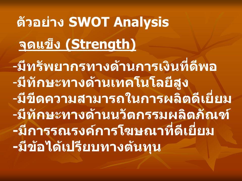 ตัวอย่าง SWOT Analysis