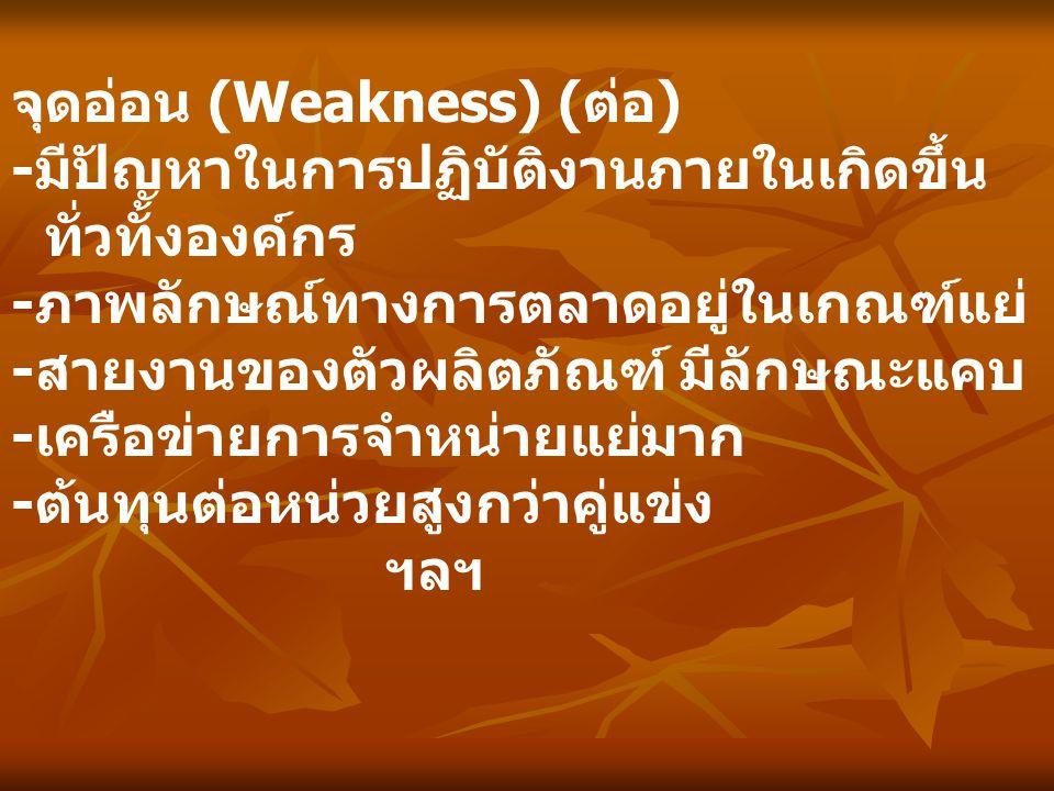 จุดอ่อน (Weakness) (ต่อ)