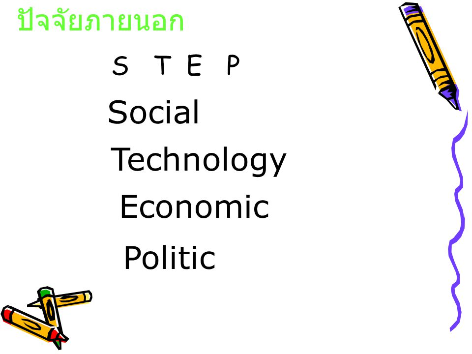 ปัจจัยภายนอก S T E P Social Technology Economic Politic