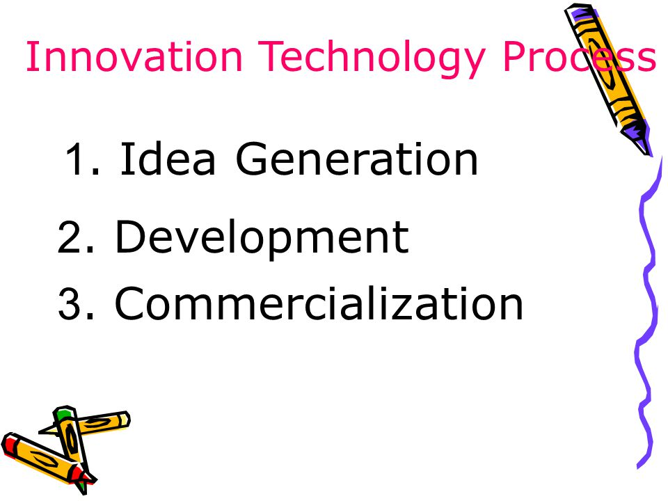 1. Idea Generation 2. Development 3. Commercialization