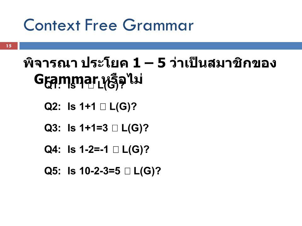 Context Free Grammar พิจารณา ประโยค 1 – 5 ว่าเป็นสมาชิกของ Grammar หรือไม่ Q1: Is 1 Î L(G) Q2: Is 1+1 Î L(G)